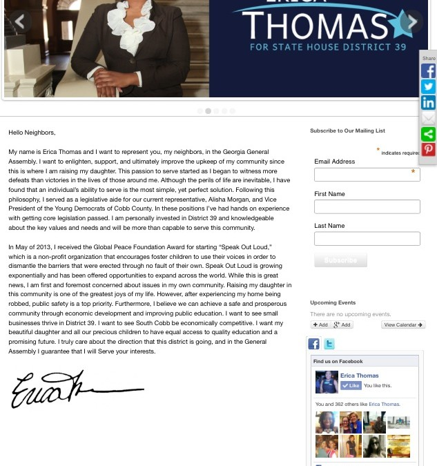 Erica Thomas Candidate Website