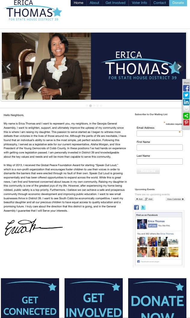 Erica Thomas Candidate Website